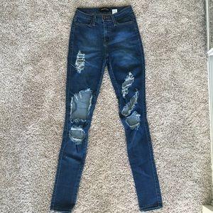Highwaisted distressed fashion nova jeans